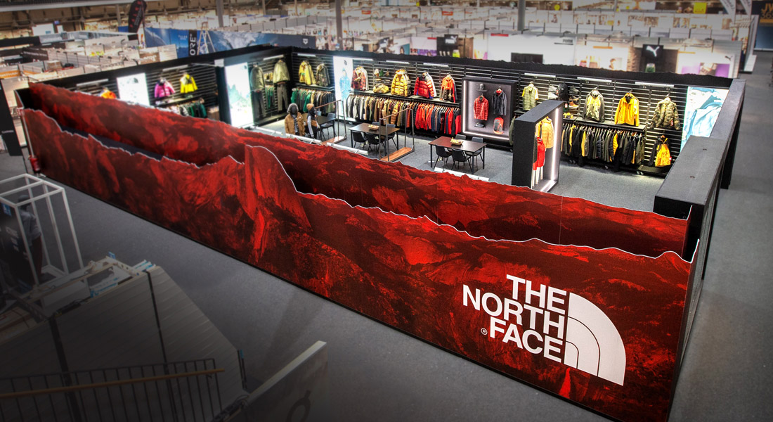 Heilbronn. Intersport Redblue. Messestand The North Face. 19.09.2019 / Bild: Rainer Mozer